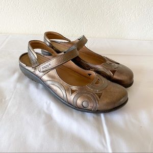 Naot Rongo Hook and Loop Slingback Gold Sandals